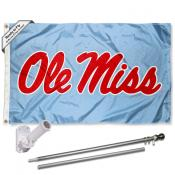 Ole Miss Blue Flag and Bracket Flagpole Set
