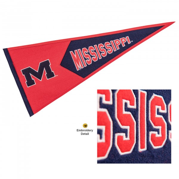Ole Miss Embroidered Wool Pennant
