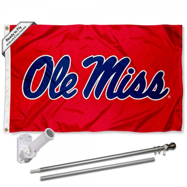 Ole Miss Flag and Bracket Flagpole Set