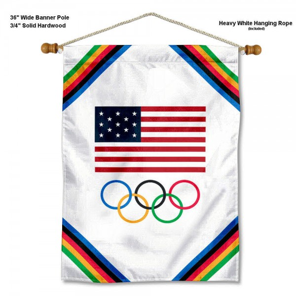 Olympic Rings USA Team Banner with Pole