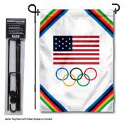 Olympic USA Licensed Garden Flag and Holder