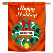 Oregon State Beavers Christmas Holiday House Flag