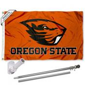 OSU Beavers Orange Logo Flag and Bracket Flagpole Set