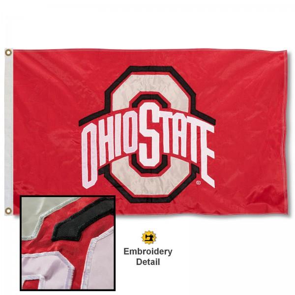 OSU Buckeyes Appliqued Nylon Flag