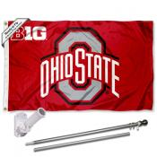 OSU Buckeyes Flag and Bracket Flagpole Kit