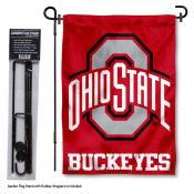 OSU Buckeyes Garden Flag and Holder