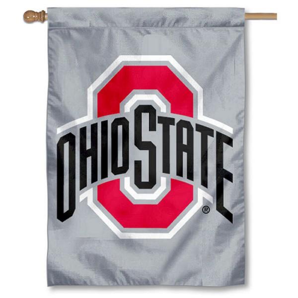 OSU Buckeyes Grey Logo House Flag