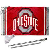 OSU Buckeyes Jersey Stripes Flag and Bracket Flagpole Kit