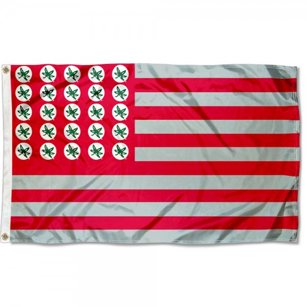OSU Buckeyes Leaf Stars and Stripes Flag