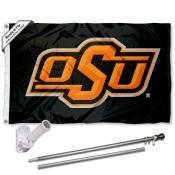 OSU Cowboys Flag and Bracket Mount Flagpole Set