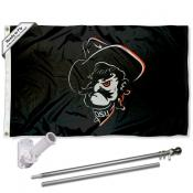OSU Cowboys Pistol Pete Mascot Flag and Bracket Flagpole Set