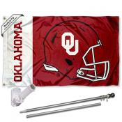 OU Sooners Football Helmet Flag and Bracket Flagpole Set