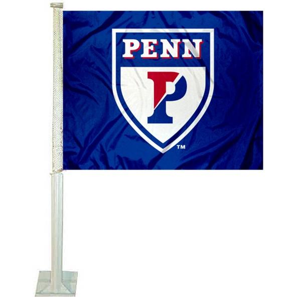 Penn Quakers Logo Car Flag