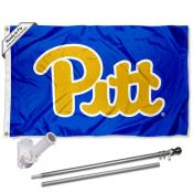 Pitt Panthers Royal Blue Flag and Bracket Flagpole Set