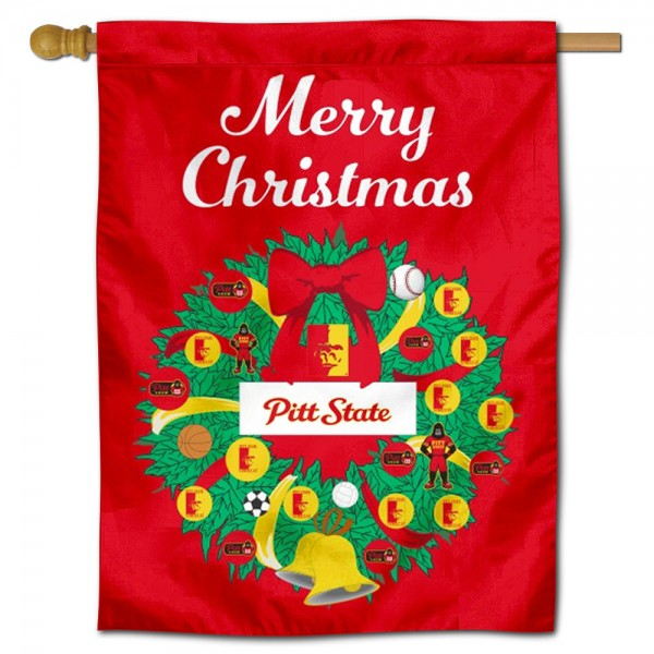 Pittsburg State Gorillas Christmas Holiday House Flag
