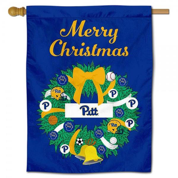 Pittsburgh Panthers Christmas Holiday House Flag
