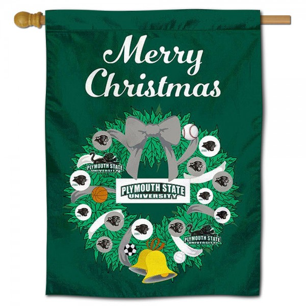 Plymouth State Panthers Christmas Holiday House Flag