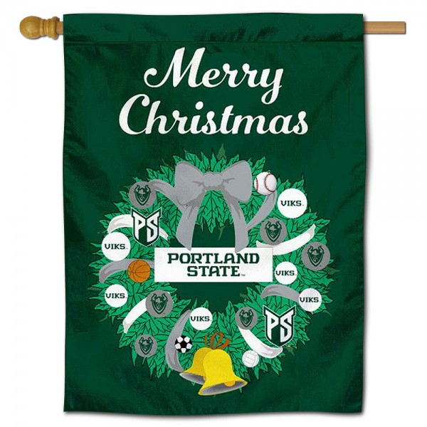 Portland State Vikings Christmas Holiday House Flag