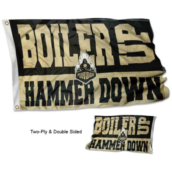Purdue Boiler Up Hammer Down Two Sided Flag
