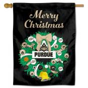 Purdue Boilermakers Christmas Holiday House Flag