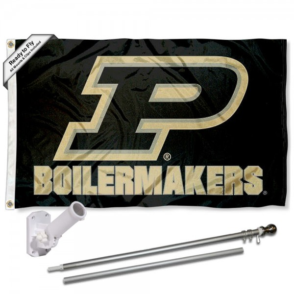 Purdue Flag and Bracket Flagpole Set