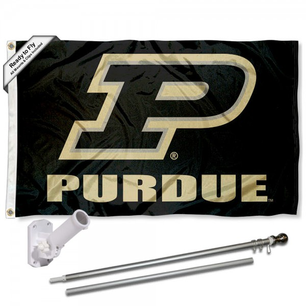 Purdue University Flag and Bracket Flagpole Set