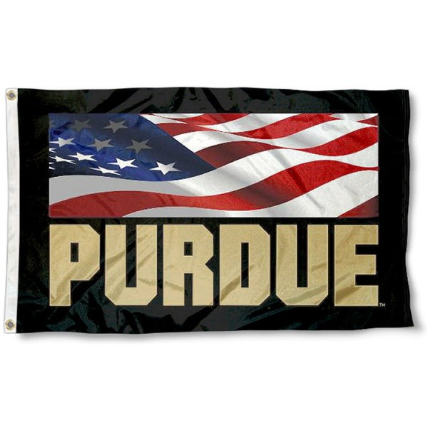 Purdue USA Flag Waving Logo Flag