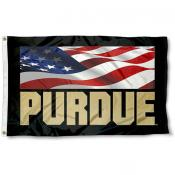 Purdue USA Flag Waving Logo Flag