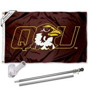 QU Hawks Flag and Bracket Mount Flagpole Set