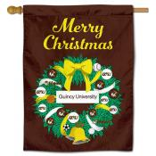 Quincy Hawks Christmas Holiday House Flag