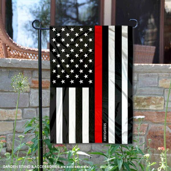 Red Thin Line Firefighters Yard Garden Banner