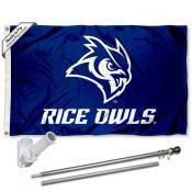 Rice Owls Flag and Bracket Mount Flagpole Set