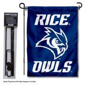 Rice Owls Garden Flag and Holder
