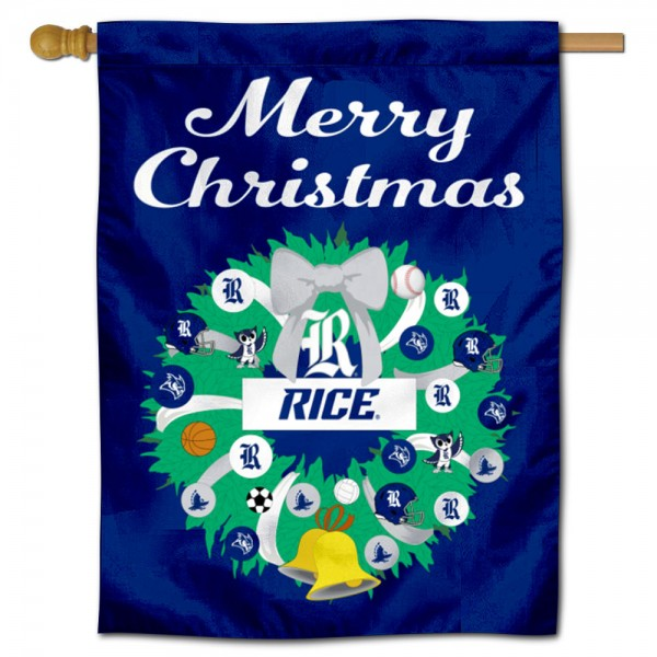 Rice Owls Holiday House Flag