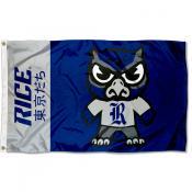 Rice Owls Tokyodachi Cartoon Mascot Flag