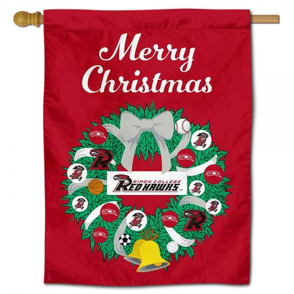 Ripon College Red Hawks Christmas Holiday House Flag