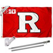 Rutgers Big Ten Conference Flag and Bracket Flagpole Set