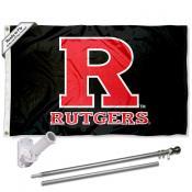 Rutgers Flag and Bracket Mount Flagpole Set