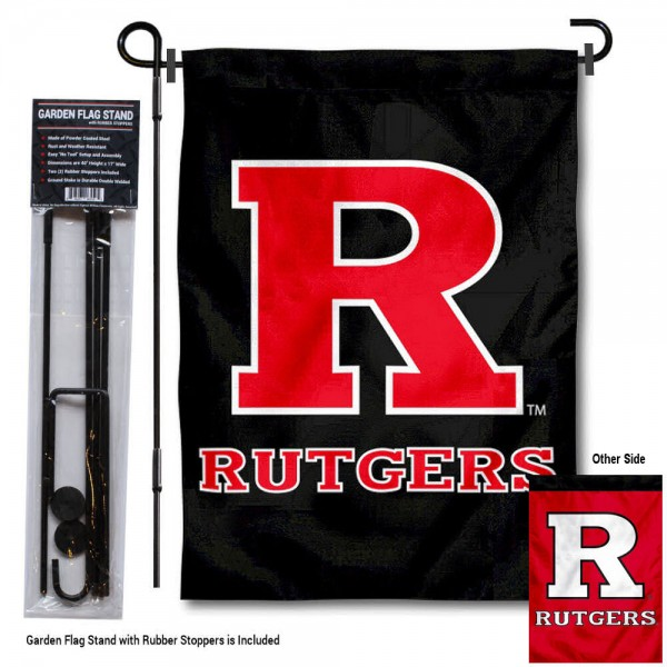 Rutgers Scarlet Knights Black Garden Flag and Holder