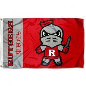 Rutgers Scarlet Knights Tokyodachi Cartoon Mascot Flag