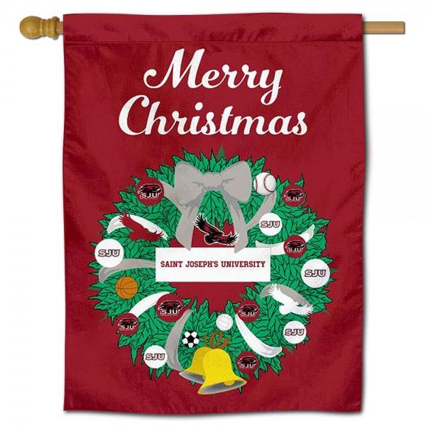 Saint Joseph's Hawks Christmas Holiday House Flag