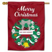 Saint Joseph's Hawks Christmas Holiday House Flag