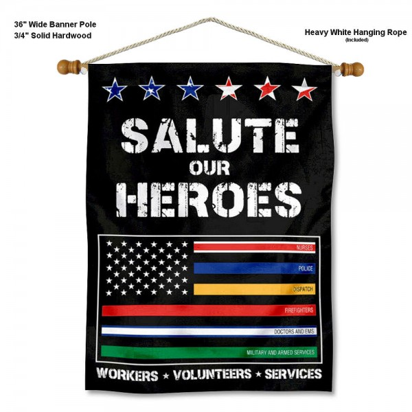 Salute Our Heroes Banner with Pole