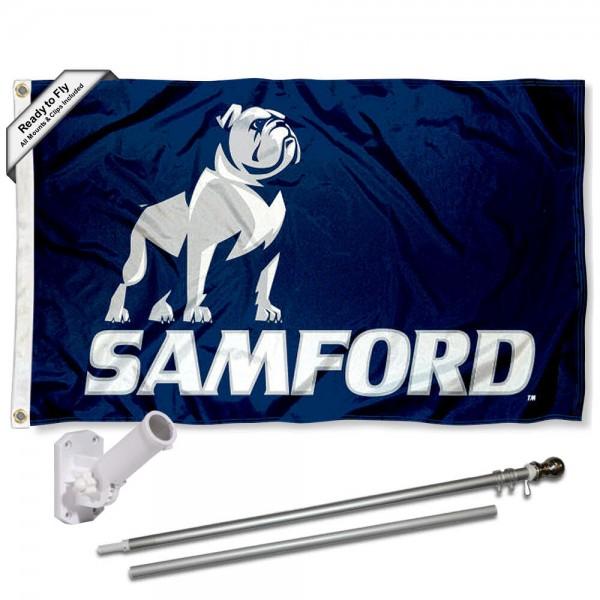 Samford Flag and Bracket Mount Flagpole Set