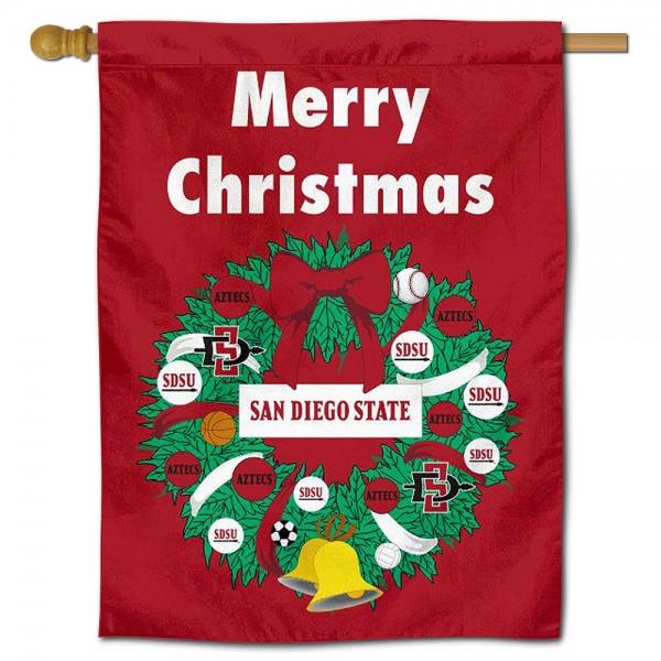 San Diego State Aztecs Christmas Holiday House Flag