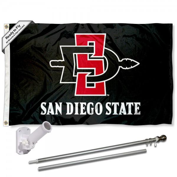 San Diego State University 3x5 Flag and Bracket Flagpole Kit