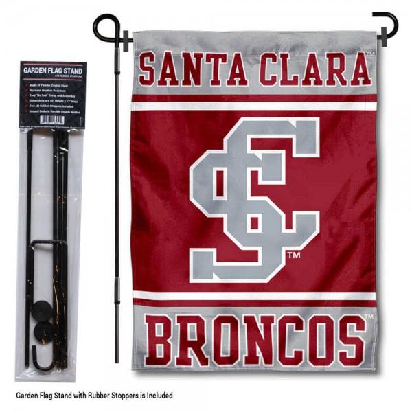 Santa Clara University Garden Flag and Yard Pole Holder Set