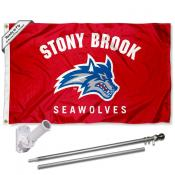 SBU Seawolves Flag and Bracket Flagpole Kit