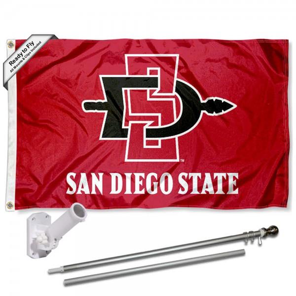 SDSU Aztecs Flag and Bracket Mount Flagpole Set