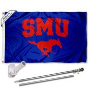SMU Blue Flag and Bracket Flagpole Set